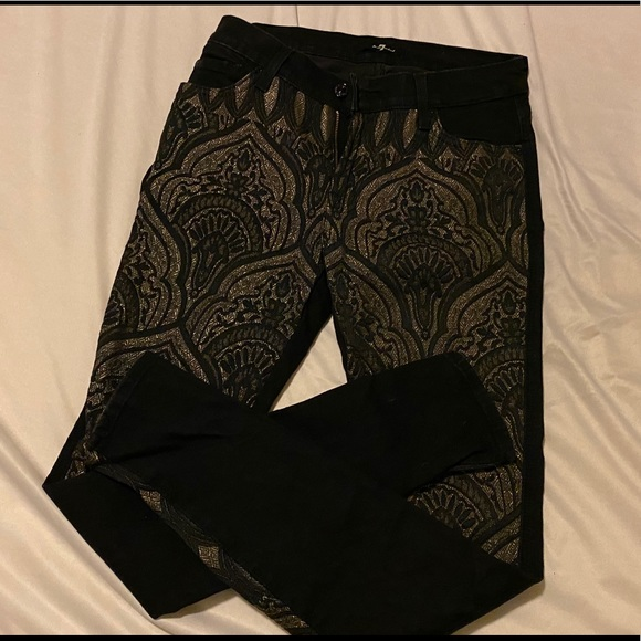 7 For All Mankind Denim - 7 For All Mankind Black and Gold Jeans- Size 27